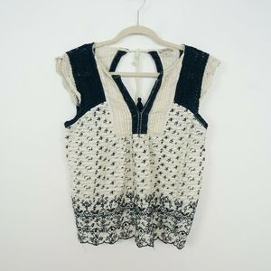 Lucky Brand Top Embroidered Crochet Pleated